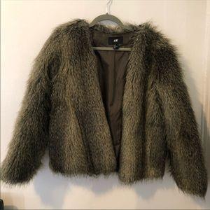 H&M Brown Faux Fur Coat Jacket Size 10